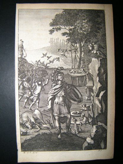 Dryden Works of Virgil 1709 Classical Engraving. Misenus Sounds a Charge | Albion Prints